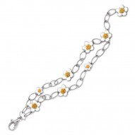 Daisy Collection In Chain Sterling Silver Rosegold_White En Bracelet