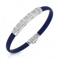 Celine Collection In Sterling Silver /Blue/Ru/ Milkstone/Cz Bracelet