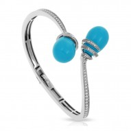 Eden Collection In Sterling Silver /Syn. Turquoise/Cz.White Bangle