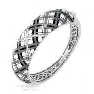 Tartan Collection In Sterling Silver White /Gray/Blken/Cz Bangle