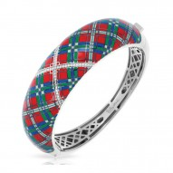 Tartan Collection In Sterling Silver Red/Blue/Grnten/Cz Bangle