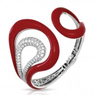 Vapeur Collection In Sterling Silver Reden/Cz.White Bangle
