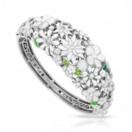 Jardin Collection In Sterling Silver White/En/ White/Cz Bangle