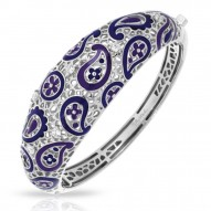 Koyari Collection In Sterling Silver Purple &Blue/En/White /Cz Bangle