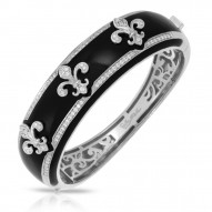 Fleur De Lis Collection In Sterling Silver Blk/En//White /Cz Bangle
