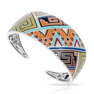 Sedona Collection In Sterling Silver Org_Brw/En/White /Cz Bangle