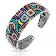 Geometrica Collection In Sterling Silver Multi/En/White /Cz Bangle