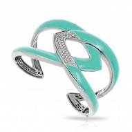 Amazon Collection In Sterling Silver Aqua/En/White /Cz Bangle
