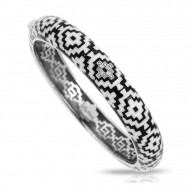 Aztec Collection In Sterling Silver Blk/White /En_White /Cz Bangle