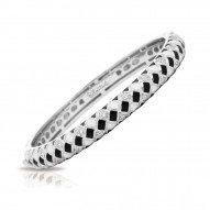 Harlequin Collection In Sterling Silver En_Blk/White _Cz Bangle
