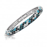 Snakeskin Collection In Stack Sterling Silver En_Teal/Cz_White Bangle