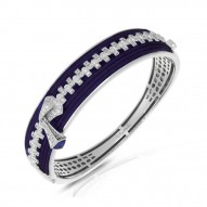 Roxie Collection In Sterling Silver Blue/Ru/White /Cz Bangle