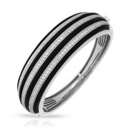 Intermezzo Collection In Sterling Silver Blk/Ru/White /Cz Bangle