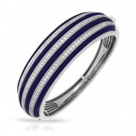 Intermezzo Collection In Sterling Silver Blue/Ru/White /Cz Bangle
