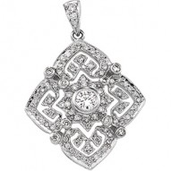 14K White 1/2 CTW Diamond Fashion Pendant