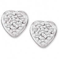 14K White 1/10 CTW Diamond Heart Earrings