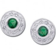 14K White 3.5mm Round Emerald & 1/10 CTW Diamond Earrings