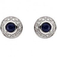 14K White 3.5mm Round Sapphire & 1/10 CTW Diamond Earrings