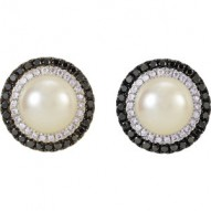 14K White Freshwater Cultured Pearl with 1/2 CTW Black & White Diamond Earrings