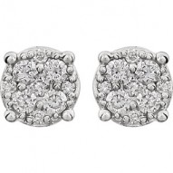 14K White 1/4 CTW Diamond Cluster Friction Post Earrings