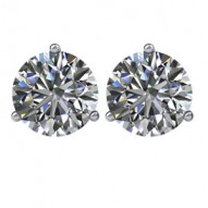 14kt White 1/2 CTW Diamond Threaded Post Earrings