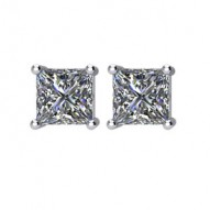 14kt White 1/2 CTW Diamond Threaded Post Stud Earrings
