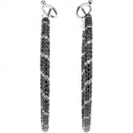 2 CTW Black & White Diamond Inside/Outside Hoop Earrings