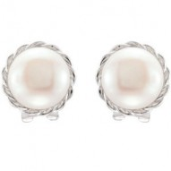 Sterling Silver 11mm Freshwater Pearl Earrings