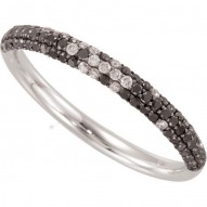 14K White 3/8 CTW Black & White Diamond Ring