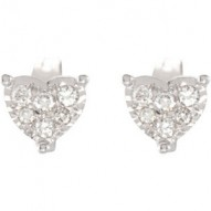 14K White 1/6 CTW Diamond Heart Earrings