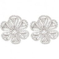 14K White 1 1/4 CTW Diamond Earrings