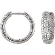 Sterling Silver 19mm Cubic Zirconia Inside/Outside Hoop Earrings
