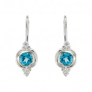 Sterling Silver Swiss Blue Topaz & CZ Earrings