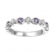 10K Amethyst & Diamond Mixable Ring
