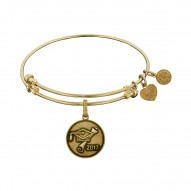 Brass with Yellow Finish Class Of 2017 Graduation Cap+Diploma Charm For Angelica Bangle