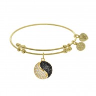 Brass with Yellow Finish Ying Yan Charm On Yellow Angelica Bangle