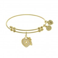 Brass with Yellow Heart-Key Charm with White Cz On Yellow Bangle
