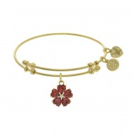 Brass with Yellow 5-Heart Flower Charm with Red +White Small Center Cz On Yellow Bangle