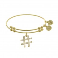 Brass with Yellow Finish Hash Tag Charm On Yellow Angelica Bangle