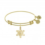 Brass with Yellow Snowflake Charm with Cz On Yellow Angelica Bangle