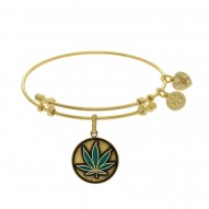 Brass with Yellow Finish Cannabis Enamel Charm for Angelica Bangle