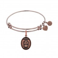 Brass with Pink Finish U.S. Navy Proud Mom Angelica Bangle