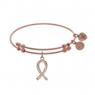 Brass with Pink Finish Breast Cancer Charm with Cz On Pink Angelica Bangle