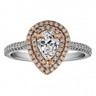 Pear Shape Halo Diamond Vintage Engagement Ring