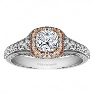 Cushion Cut Halo Diamond Vintage Engagement Ring