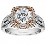 Round Cut Cushion Halo Diamond Engagement Ring