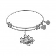 """Antique White Smooth Finish Brass Generation Rescue """"Autism"""" Angelica Bangle"""