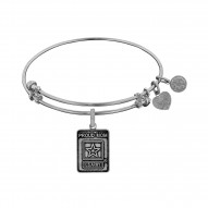 Brass with White Finish U.S. Army Proud Mom Angelica Bangle