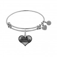 Brass White Finish Pay It Forward Charm On White Angelica Bangle