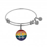 Brass with White Finish LGBTQ Pride Enamel Charm for Angelica Bangle